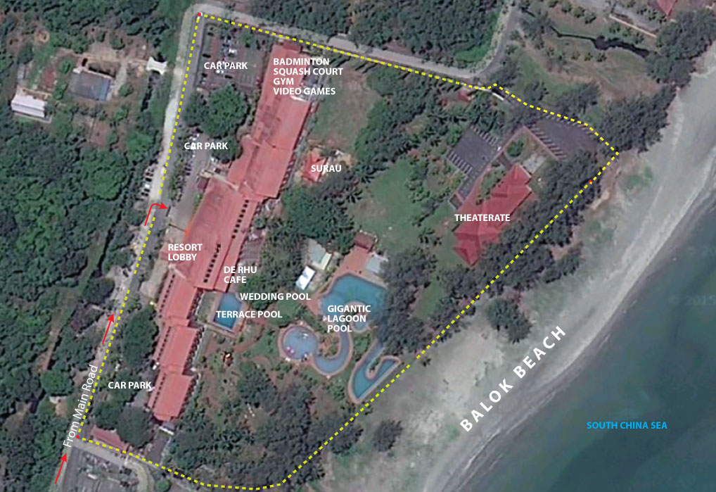 De Rhu Beach Resort Aerial Map
