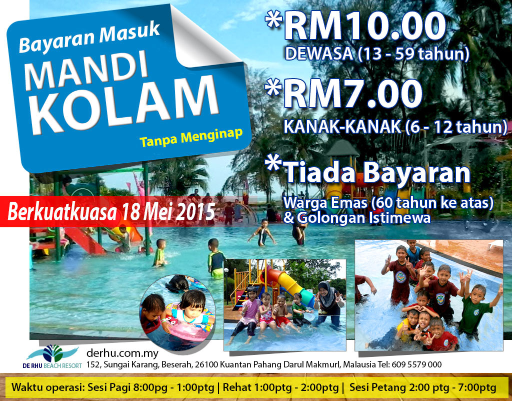 De Rhu Beach Resort Kuantan Swimming Pool Fee effective 18 May 2105